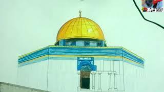 طريقة رسم مسجد قبة الصخرة بالالوان مع هشام صبرى Youtube