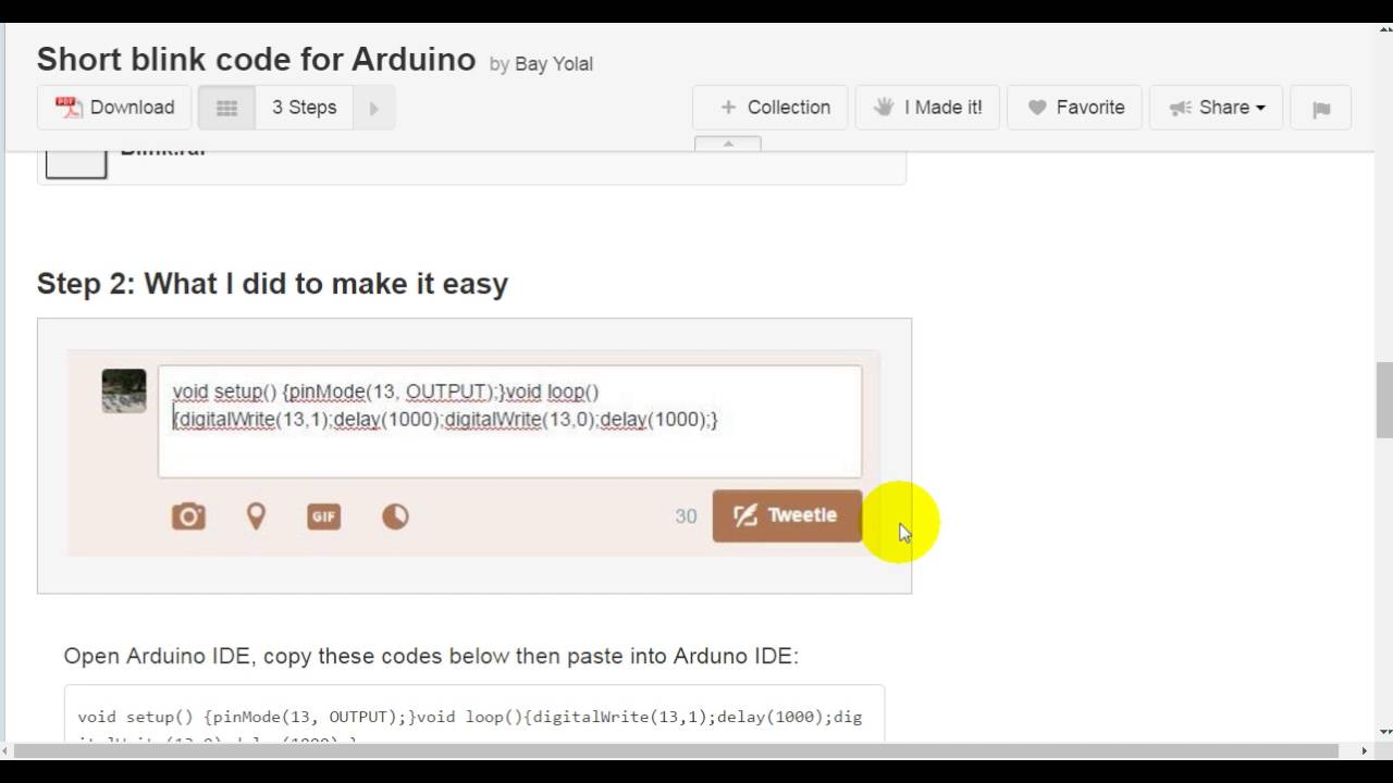 Short Blink Code for Arduino: 4 Steps