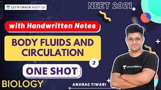 Body Fluids and Circulation with Handwritten Notes | Part-2 | One-Shot | Anurag Tiwari