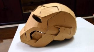 #28: Iron Man Mark 42 Helmet DIY 2/8 - Glue gun, jaw, top, back & ears (cardboard)