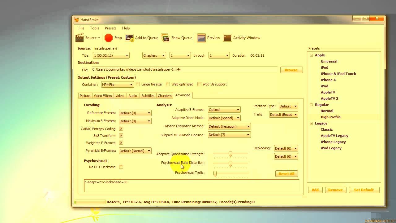 Convert AVI to MP4 using Handbrake 9 5