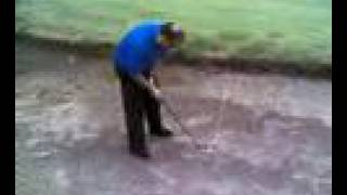 Try to watch this without laughing! Tiger Woods, eat your heart out, this is Bunker Man!