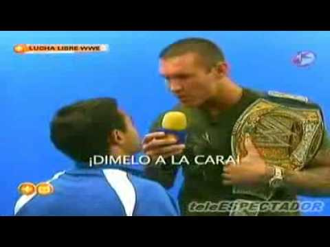 Randy Orton flips-out on Mexican TV reporter.