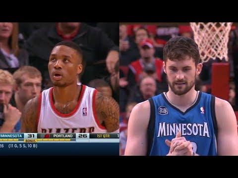 2014.02.23 - Damian Lillard vs Kevin Love Battle Highlights - Trail Blazers vs Timberwolves