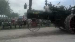 Steam traction engine on pulling sled.