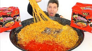 9,837 Calorie Fire Noodle Challenge (Completed) • MUKBANG