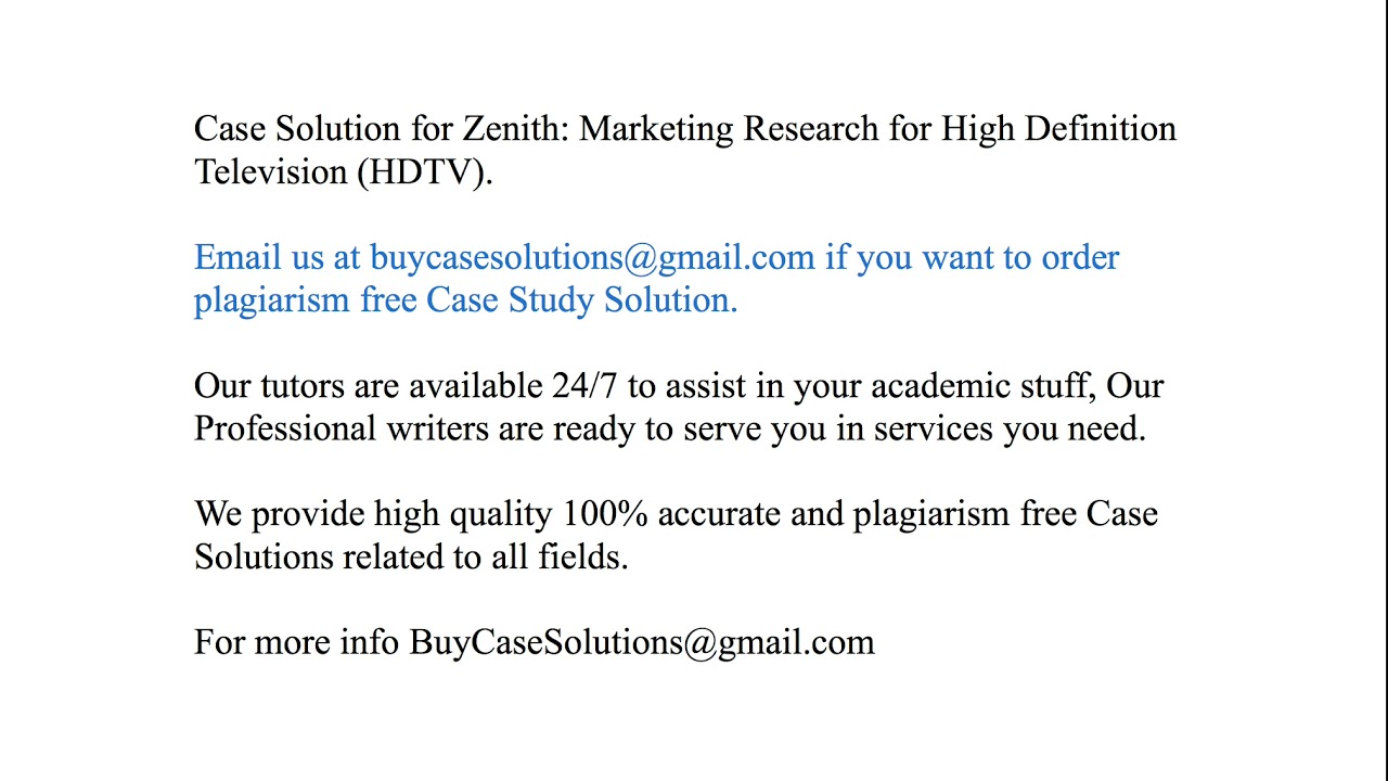 case solution zenith marketing research for high definition