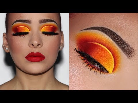 Flaming Hot Ombré Eyes w/Red Lips   Makeup Tutorial