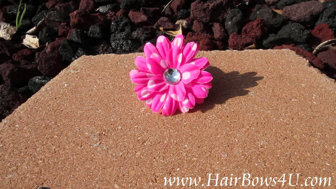Hot Pink White Polka Dots Daisy Flower Hair Clip Video Demo Youtube