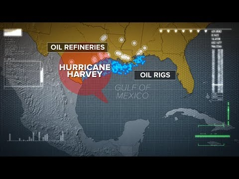 Eye of hurricane to pass over area home to nearly half of America's oil refineries