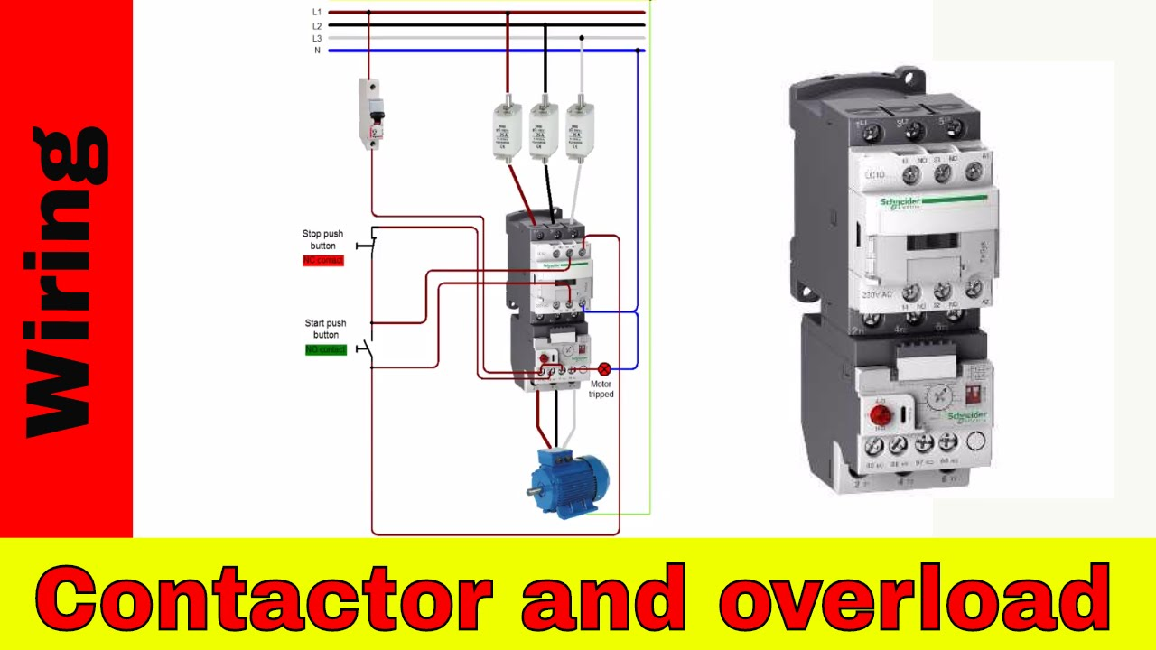 how to wire a contactor and overload direct online starter youtube rh youtube com wiring diagram schneider contactor lighting wiring diagram with contactor