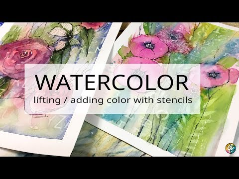 watercolor: using stencils to add or remove paint