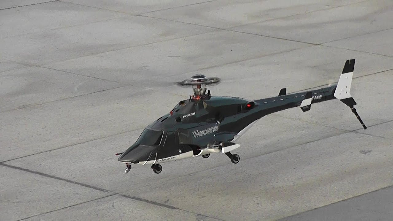RC Airwolf Helicopter low altitude drifting flight