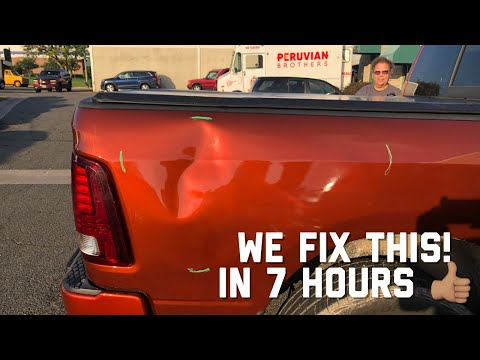 EXTREMELY LARGE Dent Repair on a Dodge Ram Pick Up | Paintless Dent Removal Process