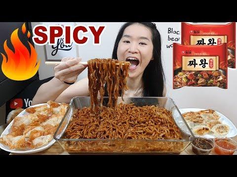 Spicy Fire Korean Black Bean Noodles! Crispy Pork & Shrimp Wanton, Dumplings   Eating Show Mukbang