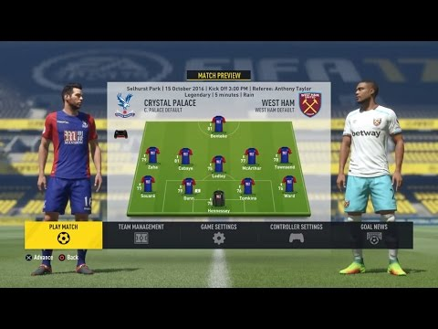 FIFA 17 English Premier League (Matchday 8): Crystal Palace vs. West Ham United (10/15/2016)