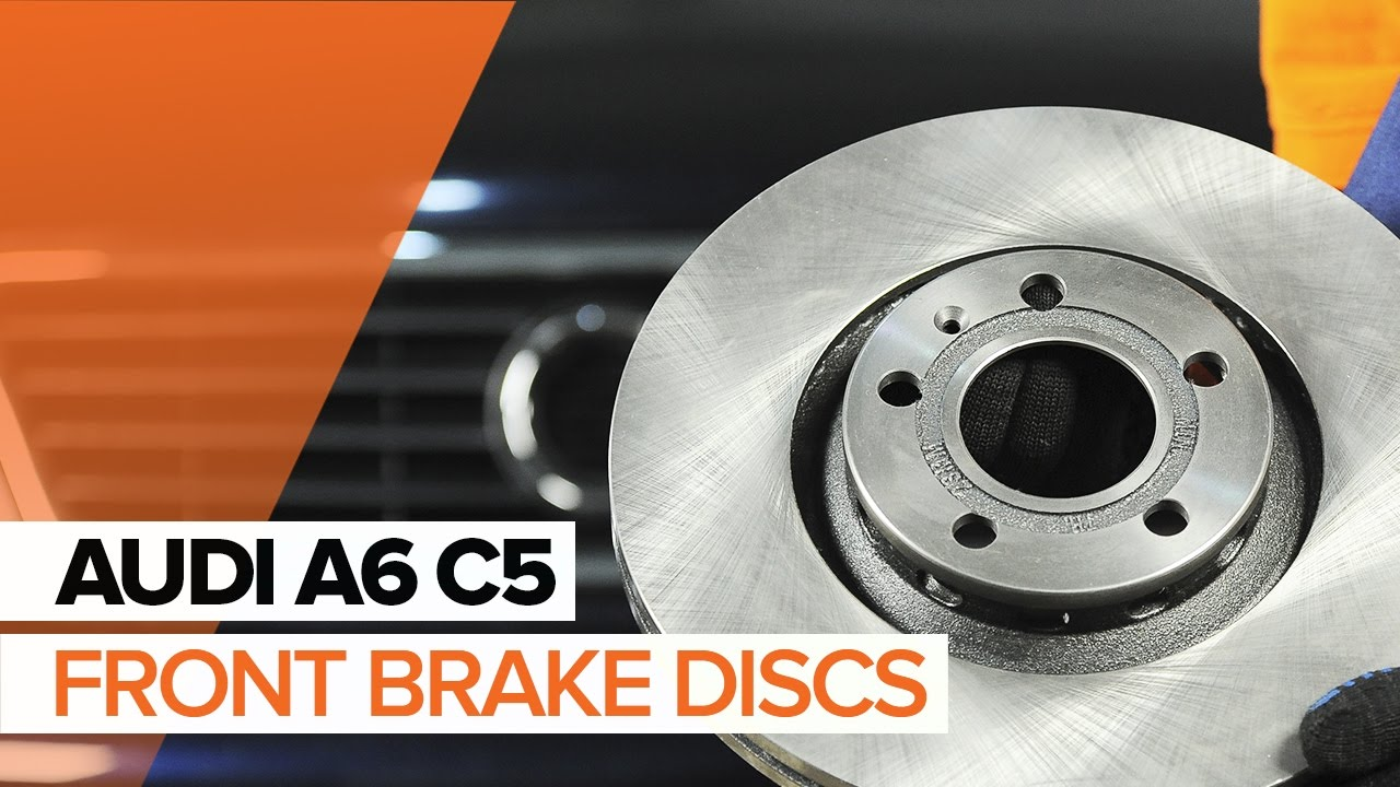how to replace front brake discs and front brake pads on audi a6 c5 tutorial autodoc youtube. Black Bedroom Furniture Sets. Home Design Ideas