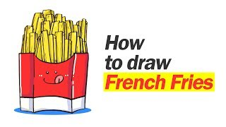 how to draw cute french fries   belajar cara menggambar kentang goreng01