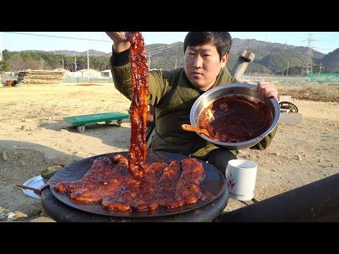매콤한 고추장 양념 발라 솥뚜껑에 치익~ 고추장 삼겹살 (Spicy Grilled Samgyeopsal) 요리&먹방!! – Mukbang eating show