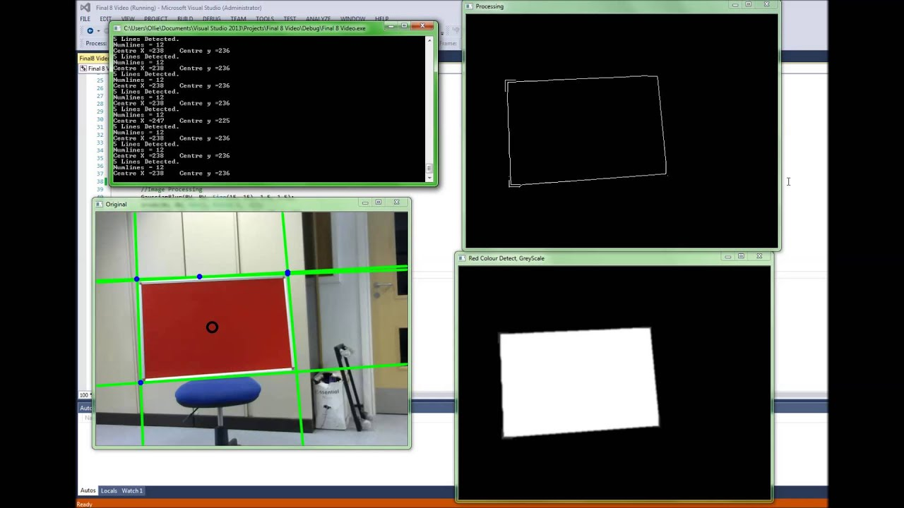 rectangle detection using houghlines in opencv  c
