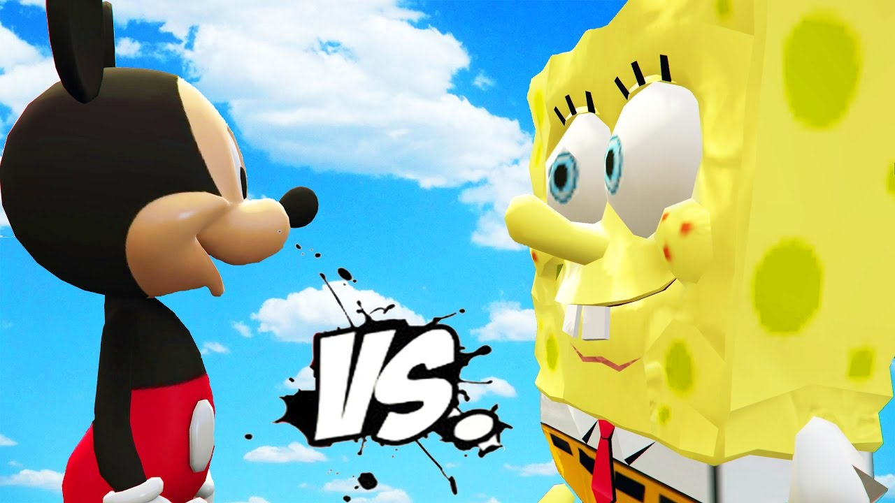 spongebob vs mickey mouse great battle youtube