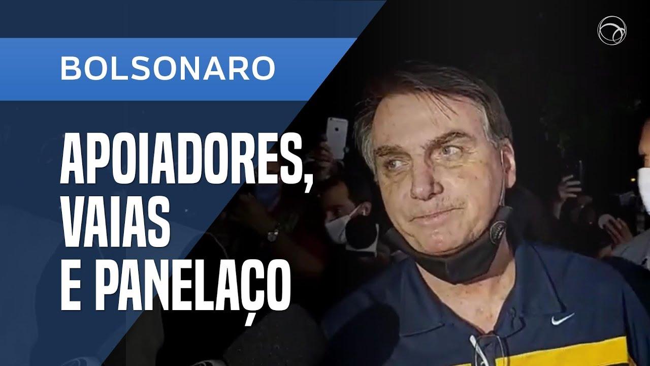 Notícias - BOLSONARO FALA COM APOIADORES, MAS TAMBÉM ESCUTA VAIAS E PANELAÇO - online