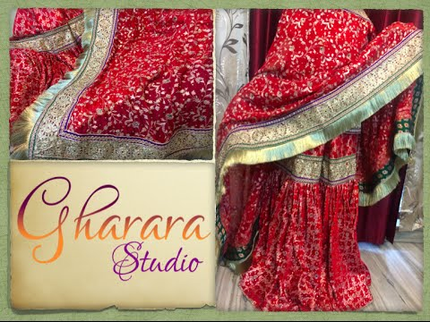 Gharara in Red Bridal Kamkhwab: Dabka, Zari hand embroidery || Gharara Studio