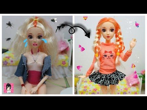 BIẾN HÓA BÚP BÊ #14 xấu thành đẹp- làm tóc, may quần áo cho búp bê xinh xắn / Ami DIY