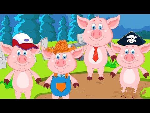 пять мало поросенка | прыгает на кровати | рифма для малышей | дети рифму | Five Little Piggies