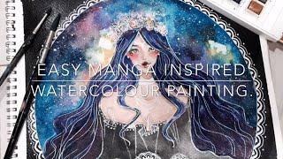Nova Aqua | Manga Inspired Watercolour Painting