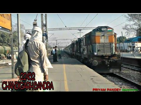 || CDG ~ BDTS || 22452 CHANDIGARH BANDRA SF EXP ARRIVES PANIPAT JUNTION