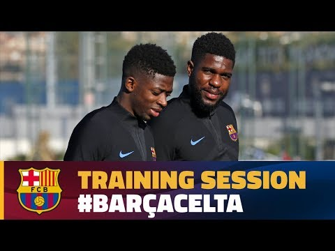 Umtiti trains with the group for part of Tuesday's workout