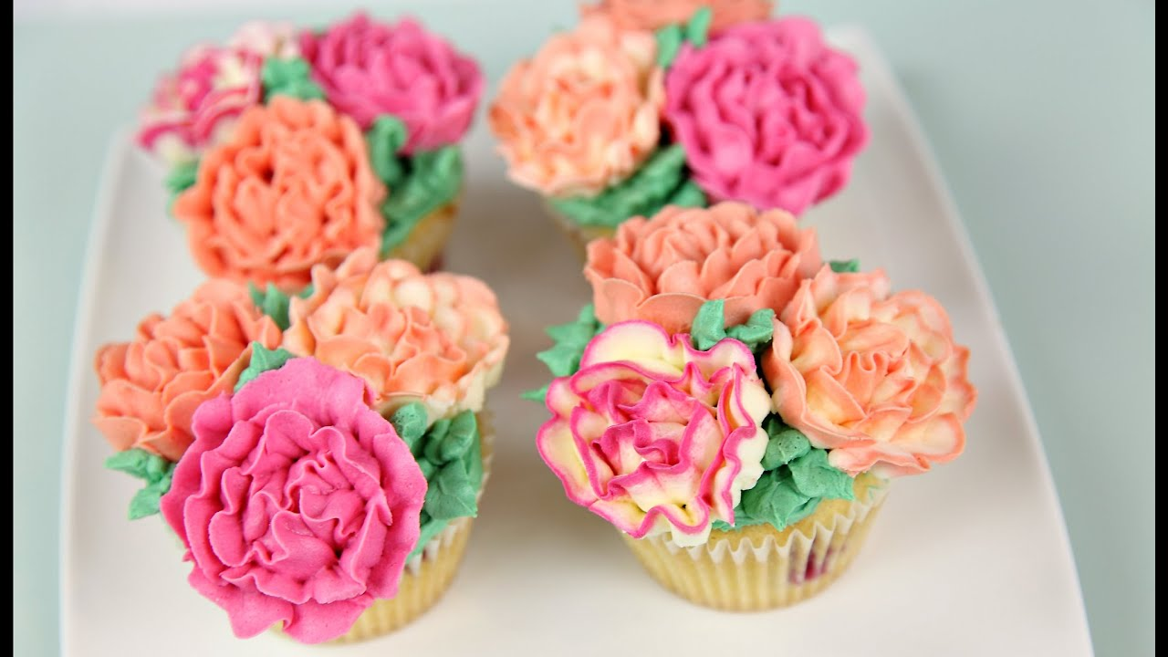 Carnation Flower Buttercream Cupcakes - CAKE STYLE - YouTube