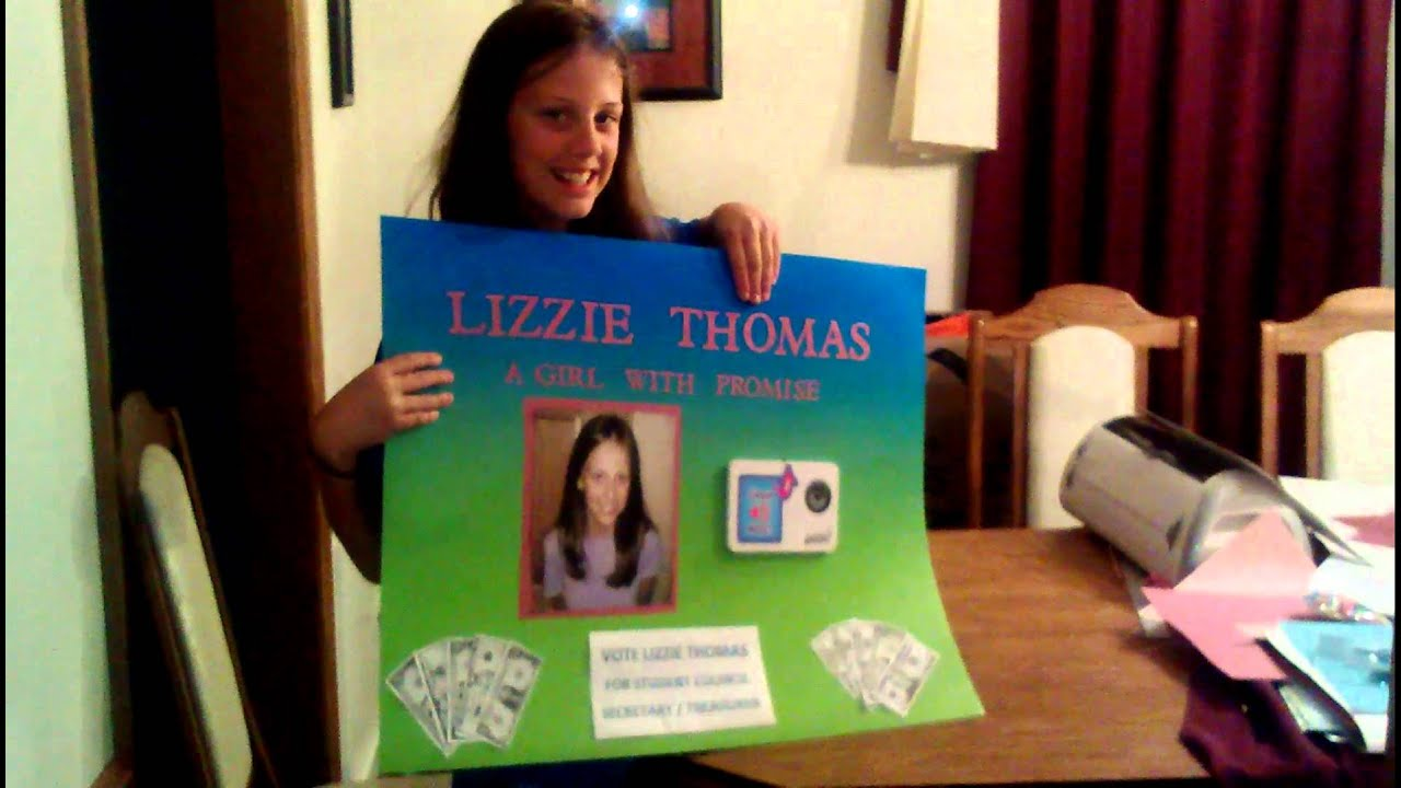 Lizzie's student council poster 2013 - YouTube