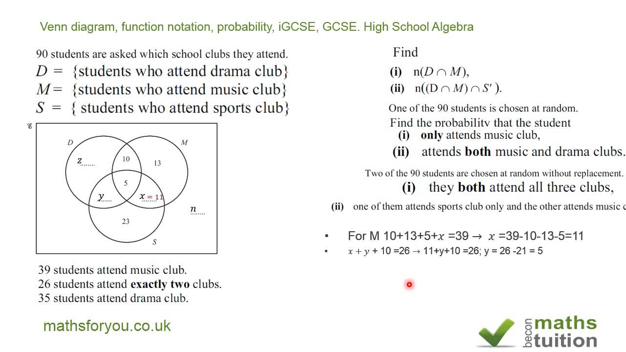 Venn diagram function notation probability igcse gcse high venn diagram function notation probability igcse gcse high school algebra pooptronica Choice Image