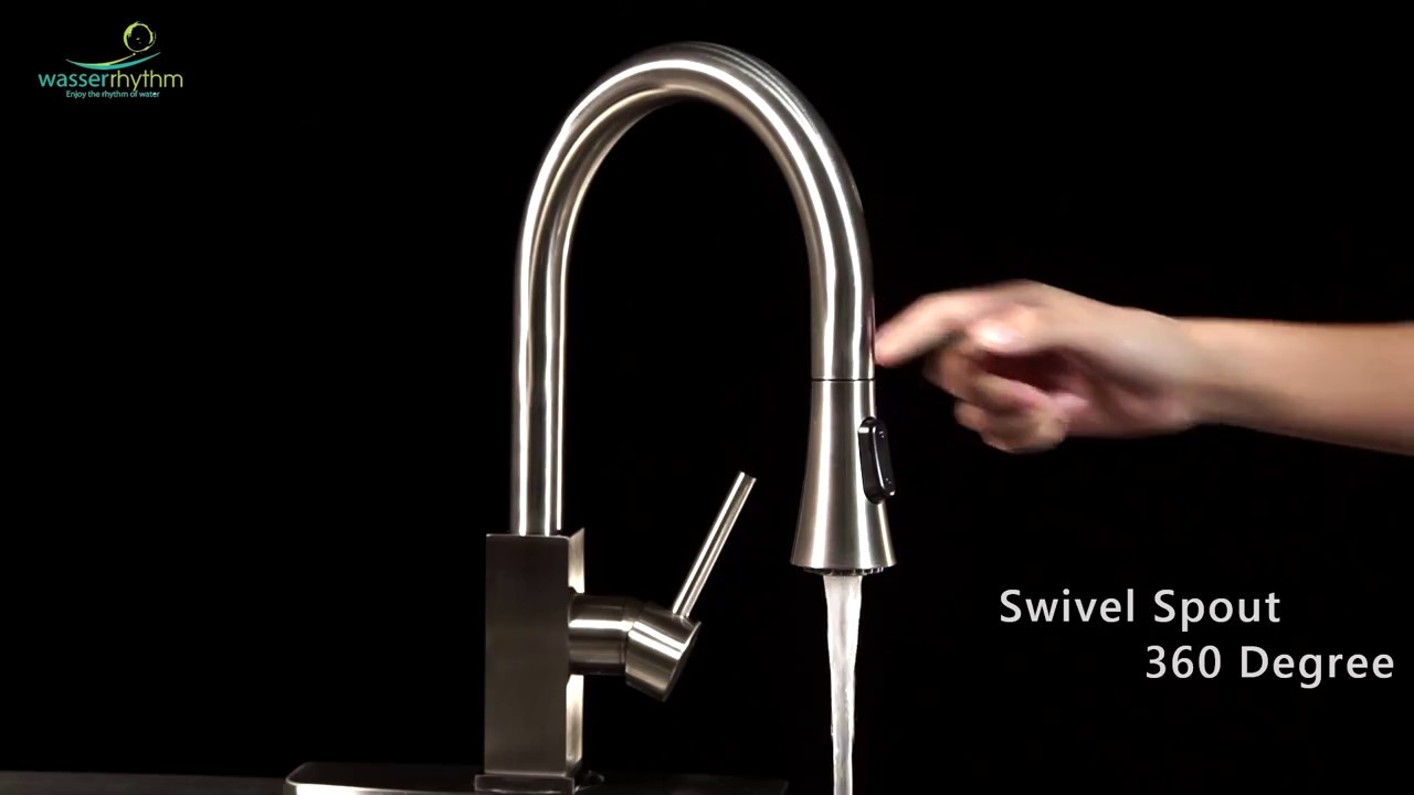 Wasserrhythm Kitchen Faucets with Pull-down Sprayer Brushed Nickel ...