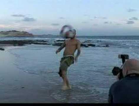 Topless David Beckham In Beach Keepy Uppies!