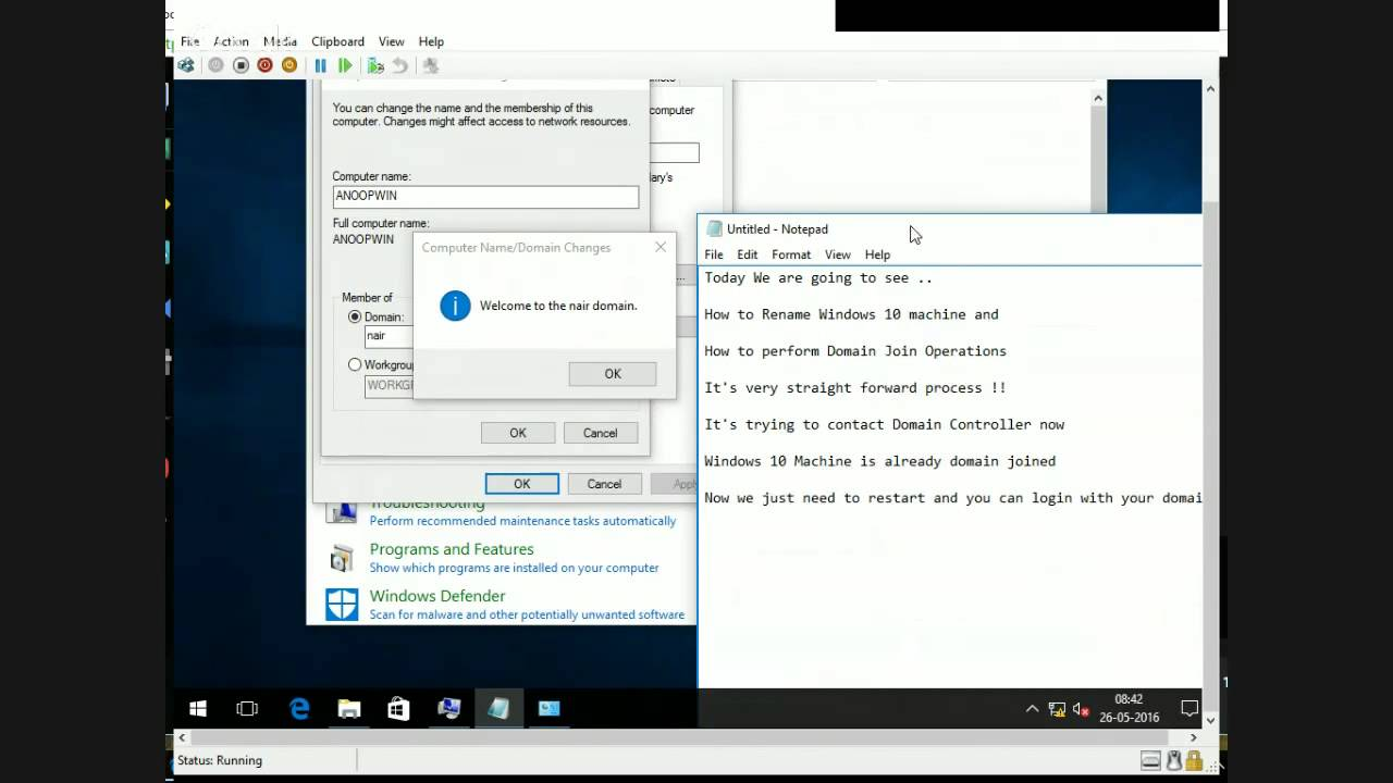 How To Rename Windows 10 Machine And How To Perform Domain Join For
