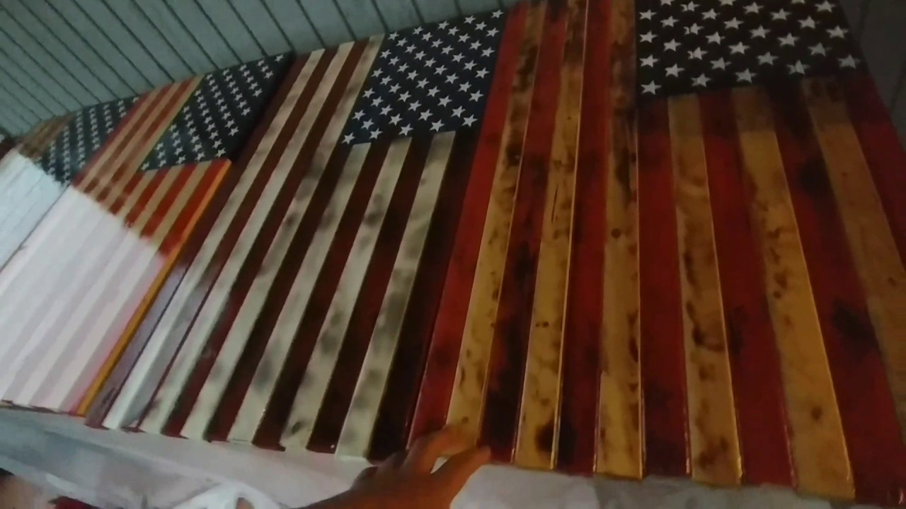 33ea2698555f RUSTIC WOODEN AMERICAN FLAGS - YouTube