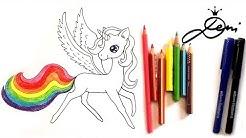 Einhorn zeichnen  🦄  Pegasus Regenbogen schnell zeichnen lernen 🦄 unicorn drawing 🌈 рисува еднорог