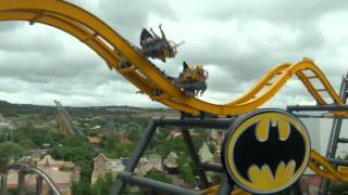 batman the ride 4d free fly coaster promo pov b roll six flags fiesta texas roller coaster spin