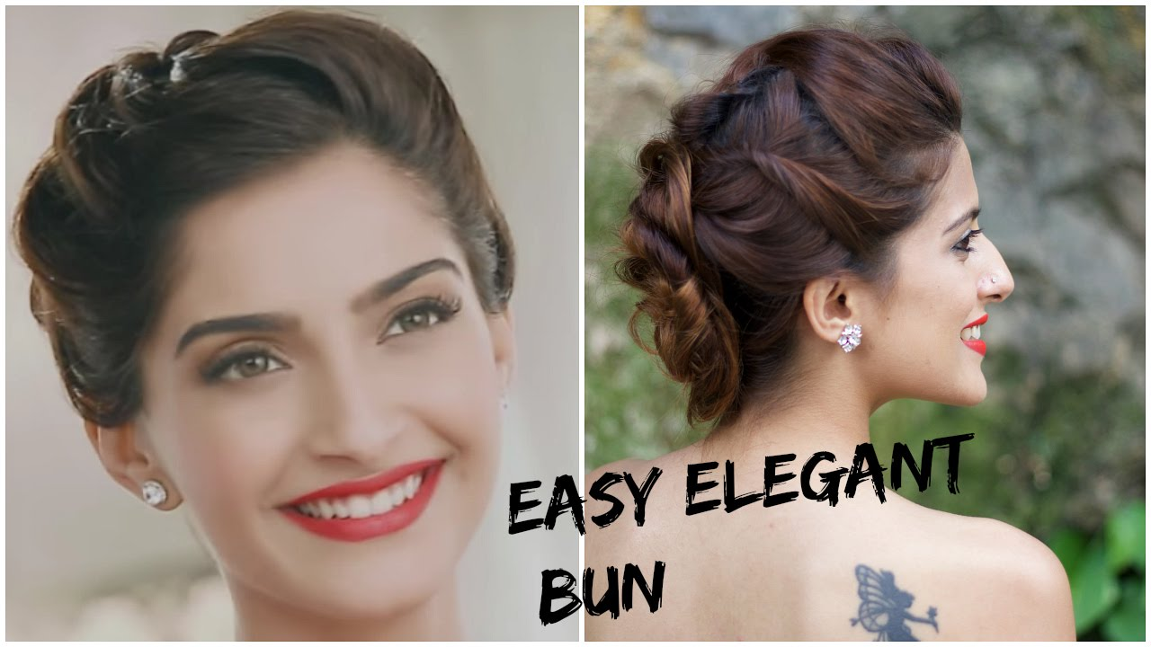 sonam kapoor's glamorous hairstyle-5 minute romantic bun hairstyle/indian hairstyles for medium hair