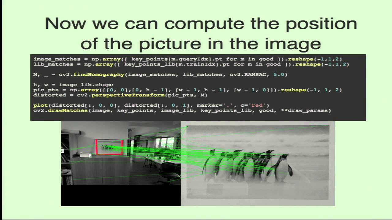 Image from Image recognition and camera positioning with OpenCV. A tourist guide application.