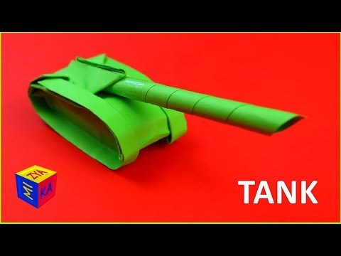 Origami: how to make a paper tank easy. Video tutorial for children. Craft for boys