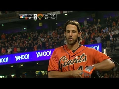 Bumgarner launches a grand slam to left field