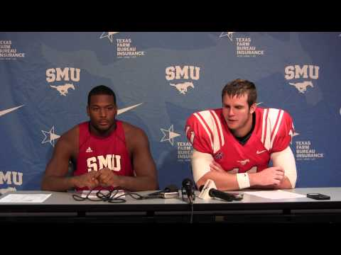 SMU 31 Montana State 30 - Garrett Gilbert & Jay Scott - Press Conference