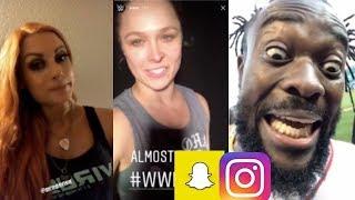 WWE Snapchat/Instagram ft Ronda Rousey, Becky Lynch, Kofi Kingston, Paige, Nia Jax n MORE