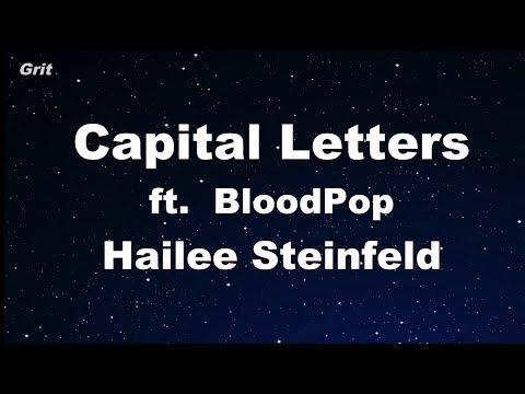 Capital Letters - Hailee Steinfeld, BloodPop Karaoke No Guide Melody Instrumental