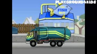 Garbage Truck Videos For Children. Game Cartoons | apps for kids: Tractor, Crane, Digger, Truck