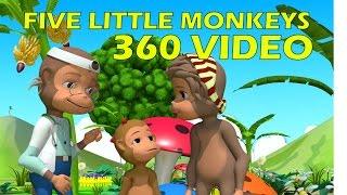 Five little monkeys jumping on the bed   360 Video   4K   VR   Nursery rhymes   Kiddiestv